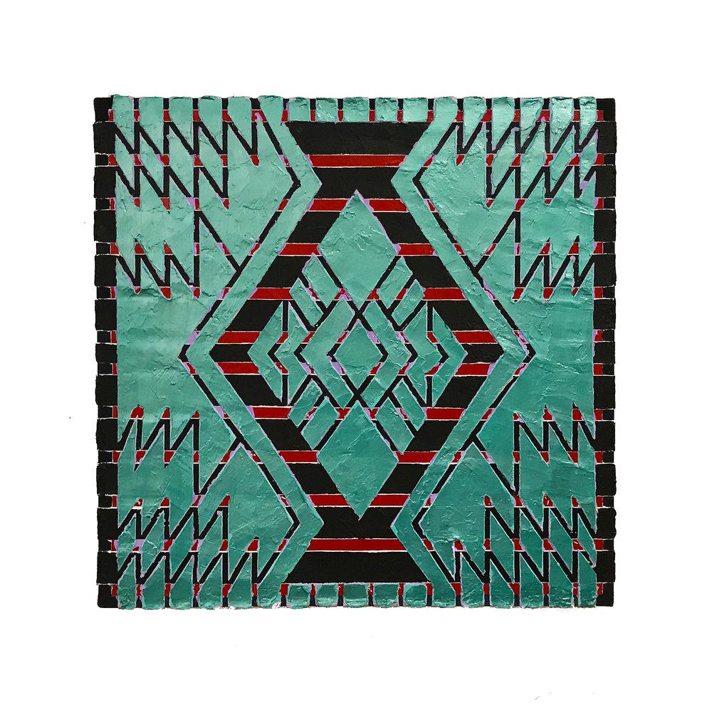"""1981 """"Amphora w.Green""""  Acrylic n Canvas 24H x 24W"""