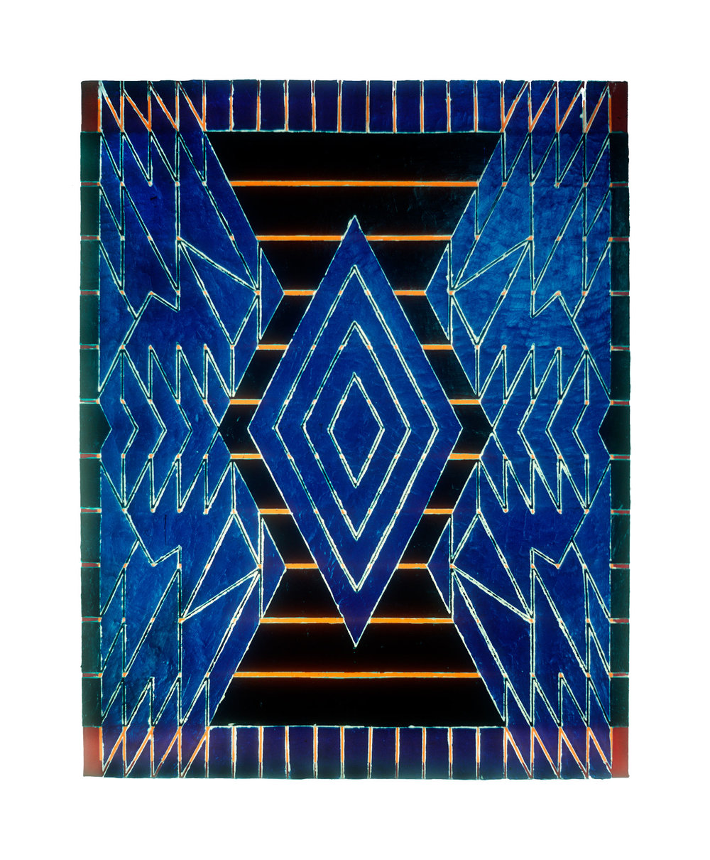 "1981 ""Large Amphora w. Blue""  Acrylic on Canvas 84H x 66W"