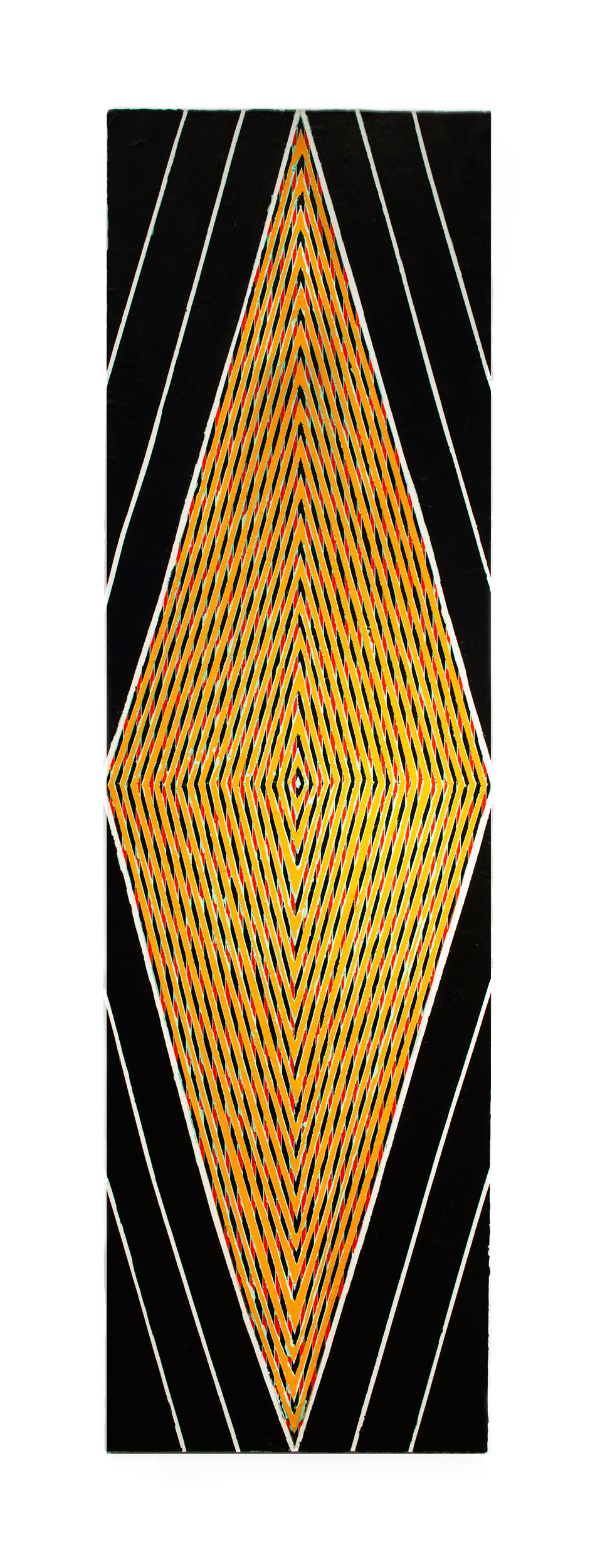 "2015   ""Tall Diamond w. Black & Orange (""Paris"")""    Acrylic on Canvas   84H x 24W"