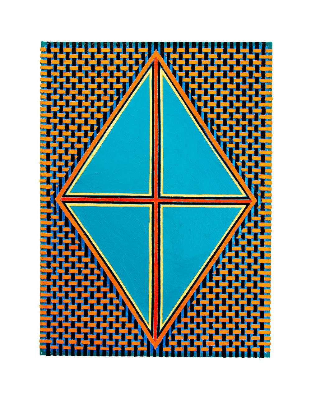 "2004 ""Turquoise Diamond w. Red Cross""  Acrylic on Canvas 42H x 30W"