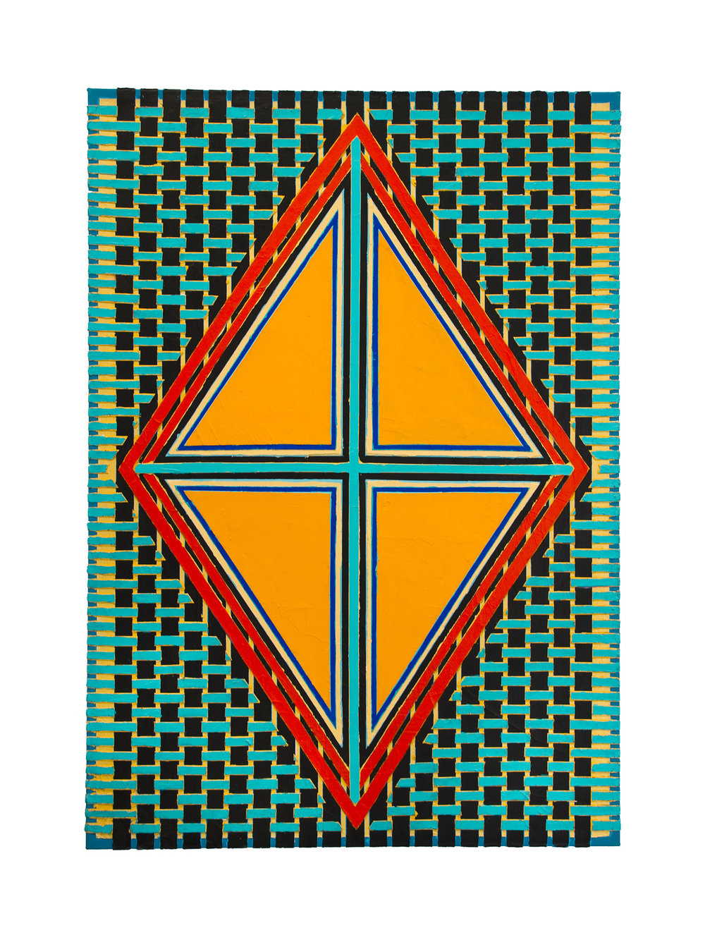 "2004    ""Orange Diamond w. Turquoise Cross""    Acrylic on Canvas    42H x 30W"