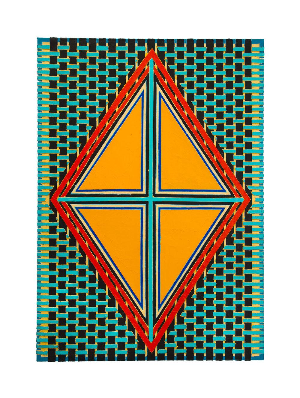 "2004  ""Orange Diamond w. Turquoise Cross""   Acrylic on Canvas  42H x 30W"