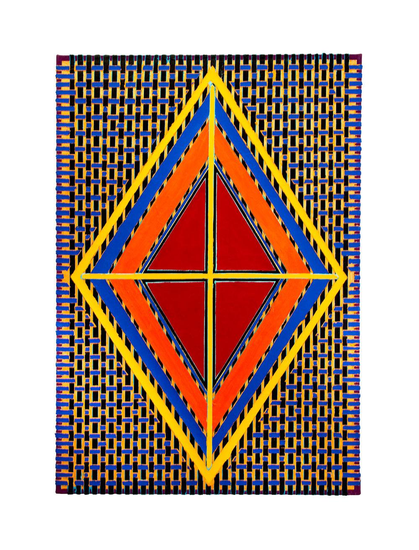 "2004 ""Red Diamond w. Yellow Cross""  Acrylic on Canvas 42H x 30W"