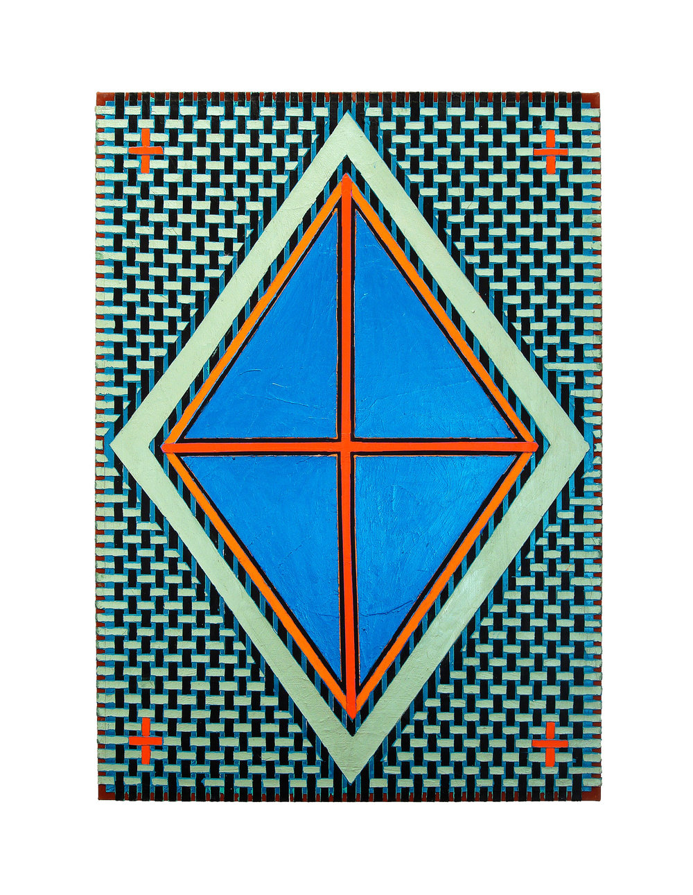 "2004   ""Blue Diamond w. Red Cross""  Acrylic on Canvas   42H x 30W"