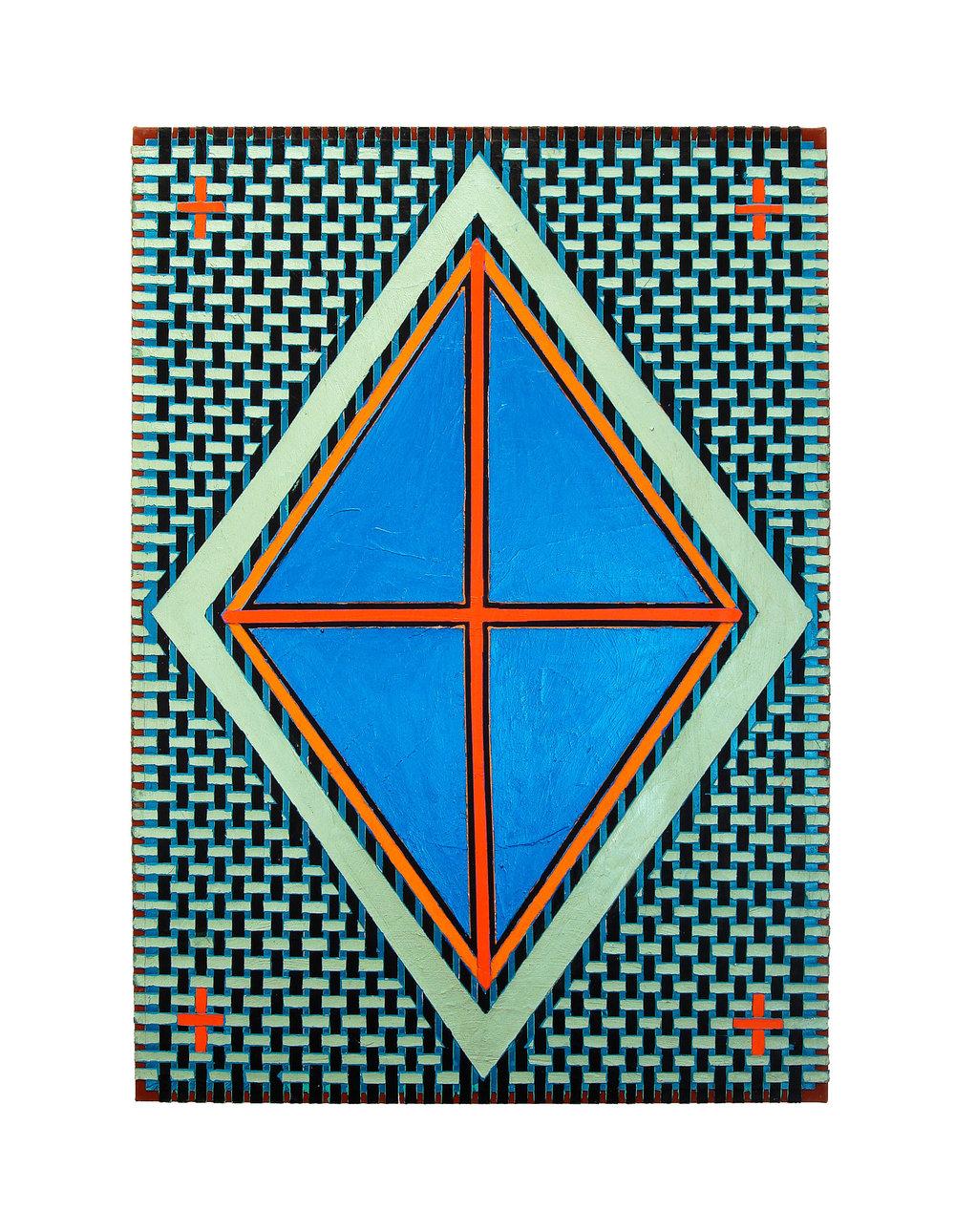 "2004 ""Blue Diamond w. Red Cross""  Acrylic on Canvas 42H x 30W"
