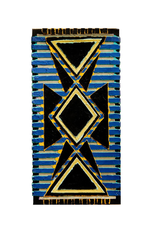 "1994  ""Amphora w. Blue Lines (2)""  Acrylic Canvas  18H x 9W"