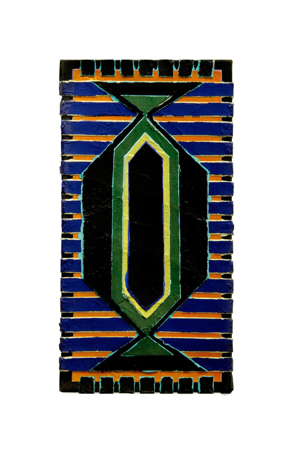 "1994  ""Amphora w. Blue Lines (4)""  Acrylic on Canvas  18H x 9W"