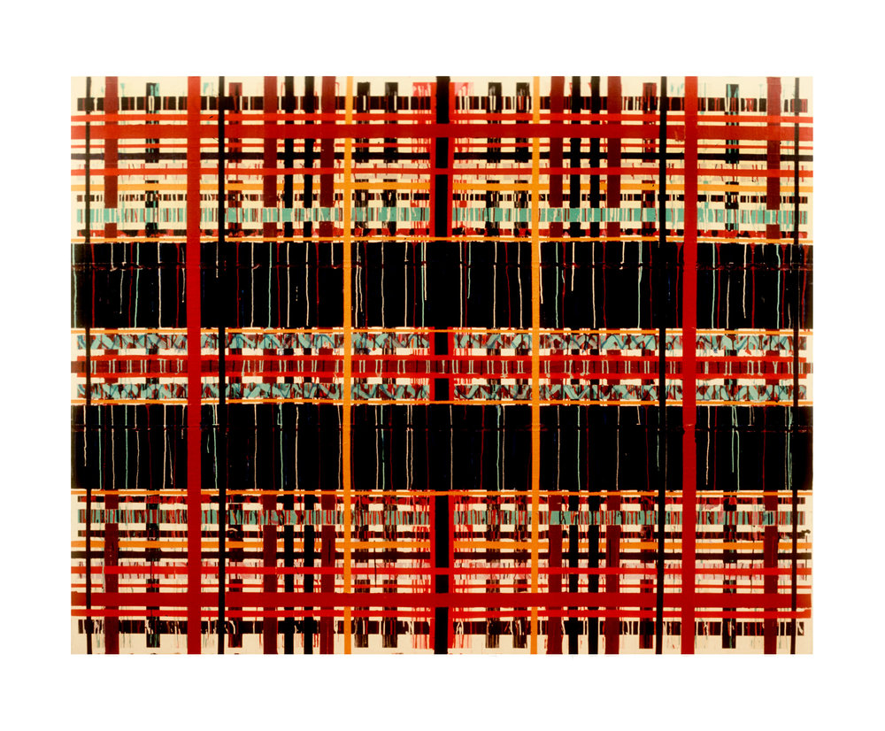"""1977  """"Barrier""""  Acrylic on Canvas  84H x 108W"""