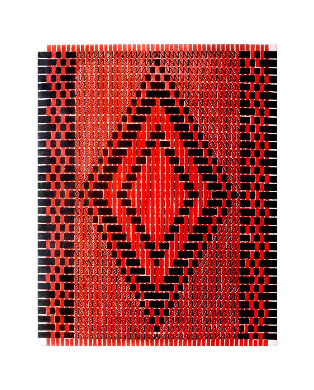 "1980  ""Diamond w. Red & Black""  Acrylic on Canvas  72H x 48W"