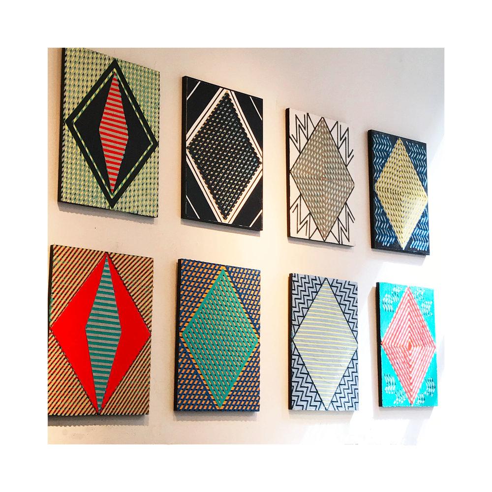 "2017  8 Diamonds - in the Studio""   Acrylic on Masonite Each 24H x 18W"