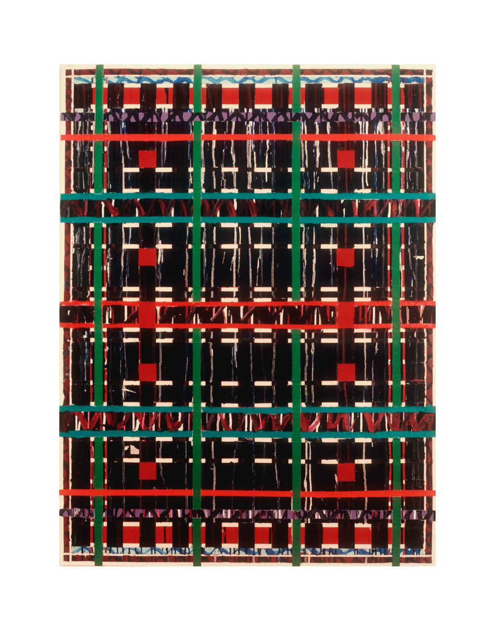"1977   ""Criss-Cross""  Acrylic on Canvas  66H x 45W"