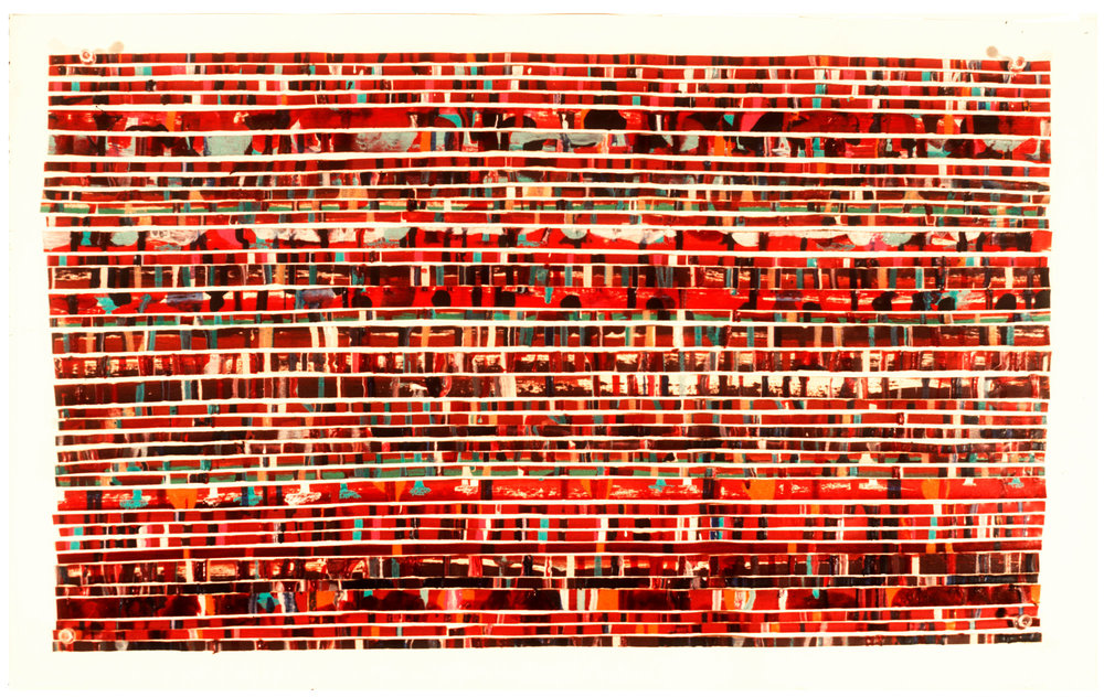 """1975   """"Painted Tape w. Thin Red Lines""""  Acrylic on Masking Tape  on Paper"""