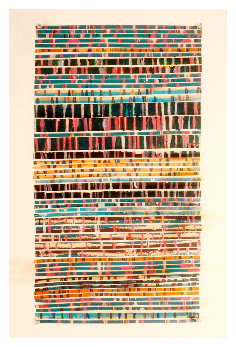 """1975   """"Collage w. Thin Green Lines""""  Painted Masking Tape on Paper"""