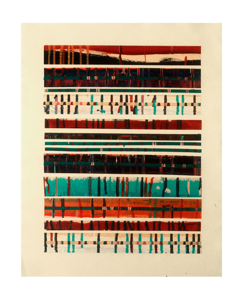 """1975 """"Collage w. Bands & Drips -2""""  Painted Masking Tape on Paper"""
