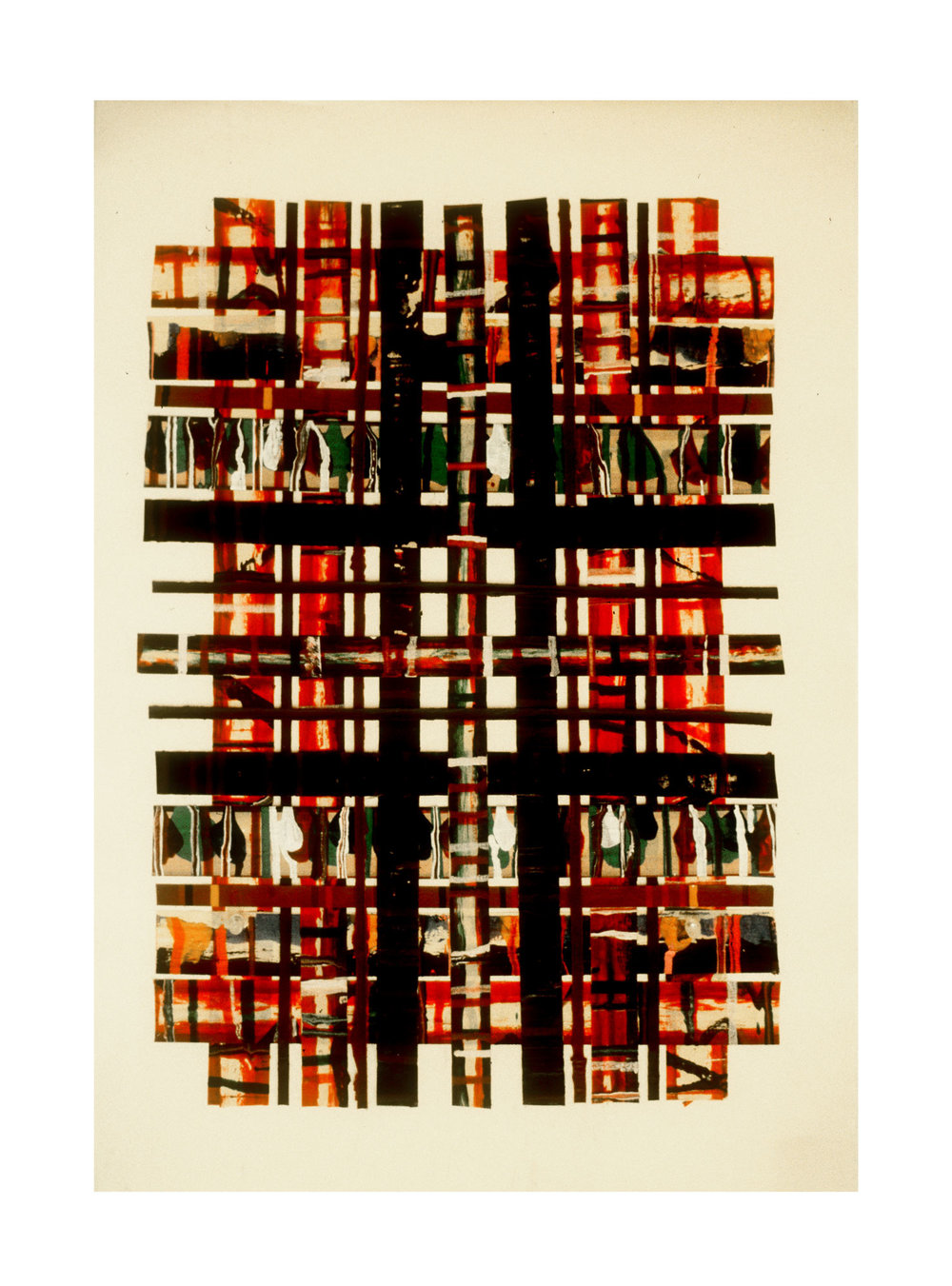 """1976 """"Collage w. Bands & Verticals -3""""  Painted Masking Tape on Paper"""