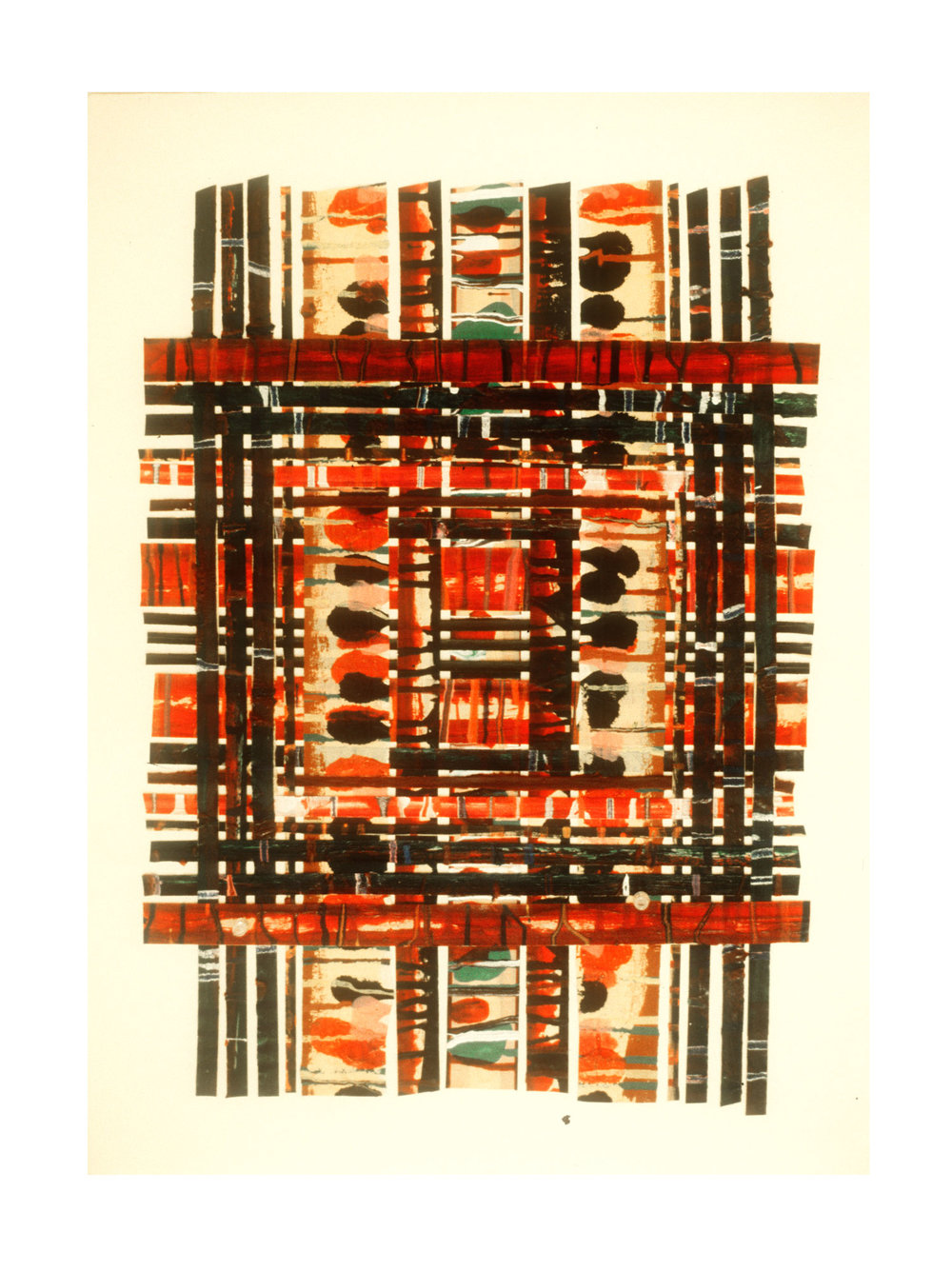 """1976 """"Collage w. Bands & Verticals -6""""  Painted Masking Tape on Paper"""