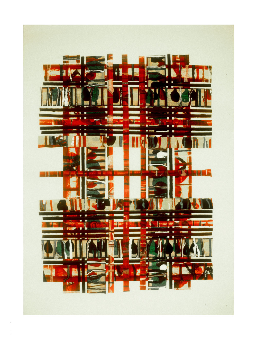 """1976 """"Collage w. Bands & Verticals -7""""  Painted Masking Tape on Paper"""