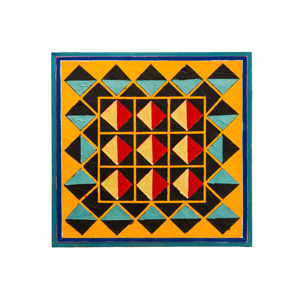 "1983    ""Geometric with Orange""  Acrylic on Canvas    24H x 24W"