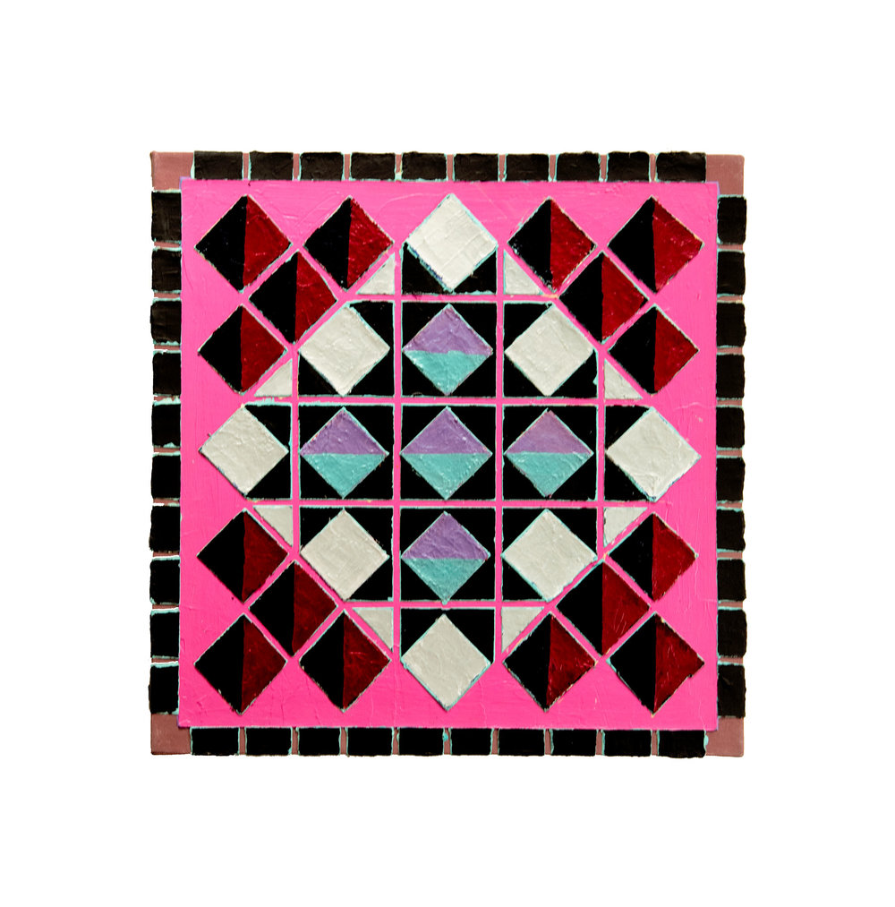"1983    ""Geometric w. Pink""  Acrylic on Canvas    24H x 24W"