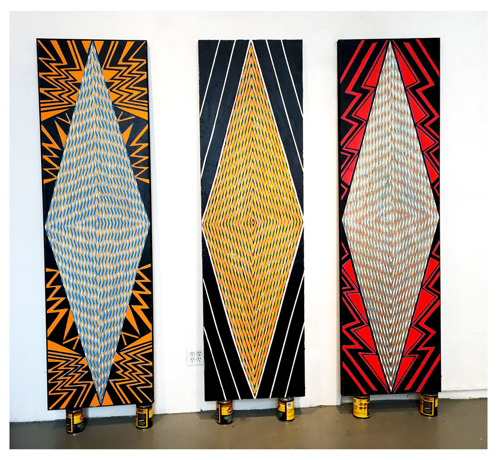 "2015    ""Tall Diamonds""   (New York/Paris/Brussels)  Acrylic on Canvas   Each 84H x 24W"