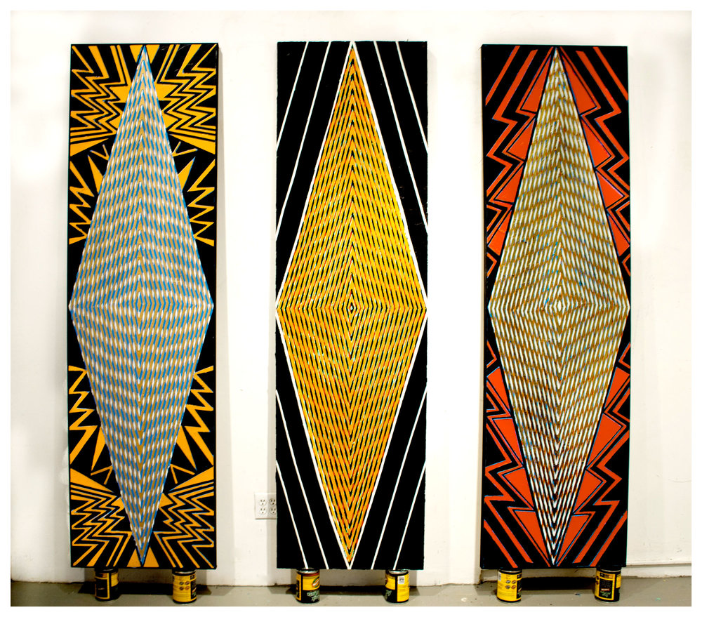 "2015   ""Tall Diamonds (New York, Paris, Brussels)""  Acrylic on Canvas   Each 84H x 24W"