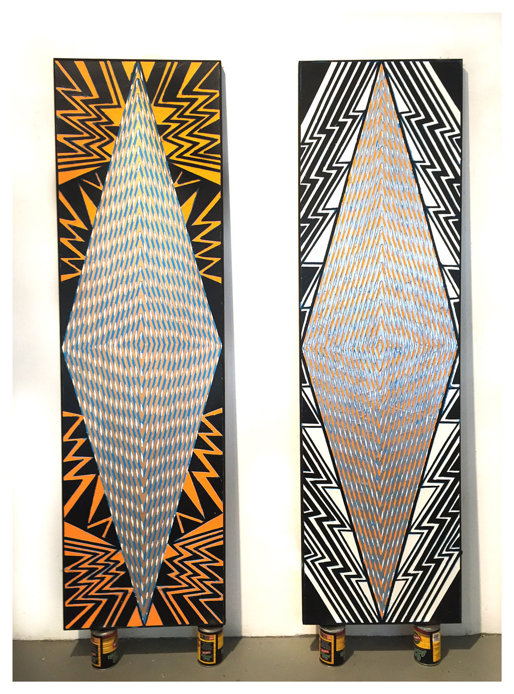 "2015 ""Tall Diamonds (New York, London)""  Acrylic on Canvas 84H x 24W"