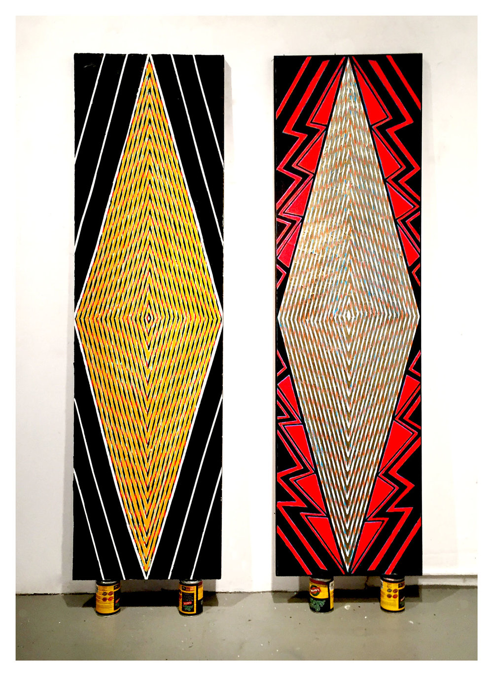 "2015  ""Tall Diamonds (Paris,Brussels)""  Acrylic on Canvas   84H x 24W"
