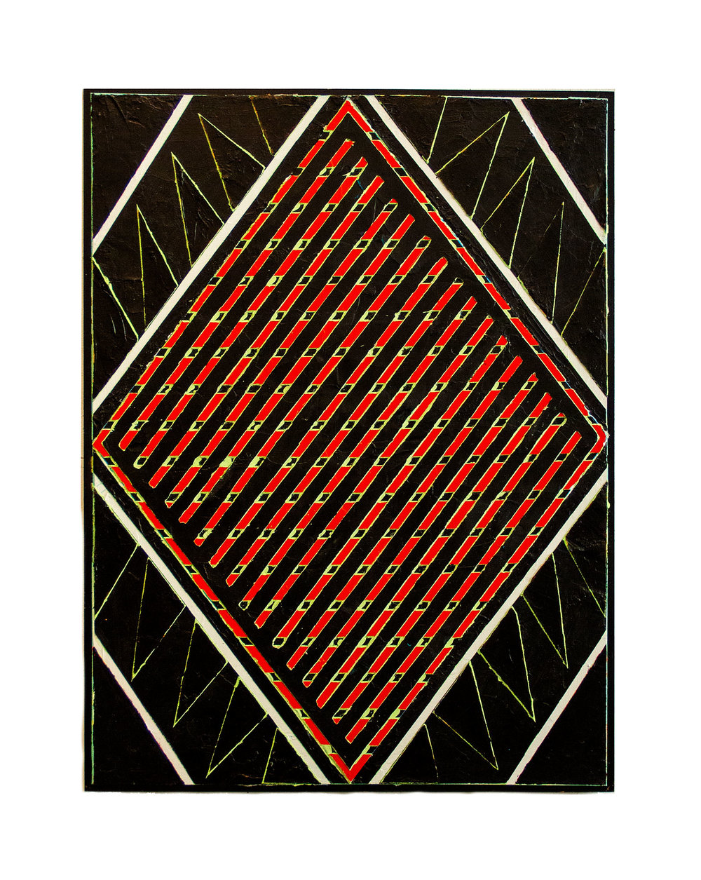 "2016  ""Red Diamond w. Black Feathers""    Acrylic on Masonite  24H x 18W"