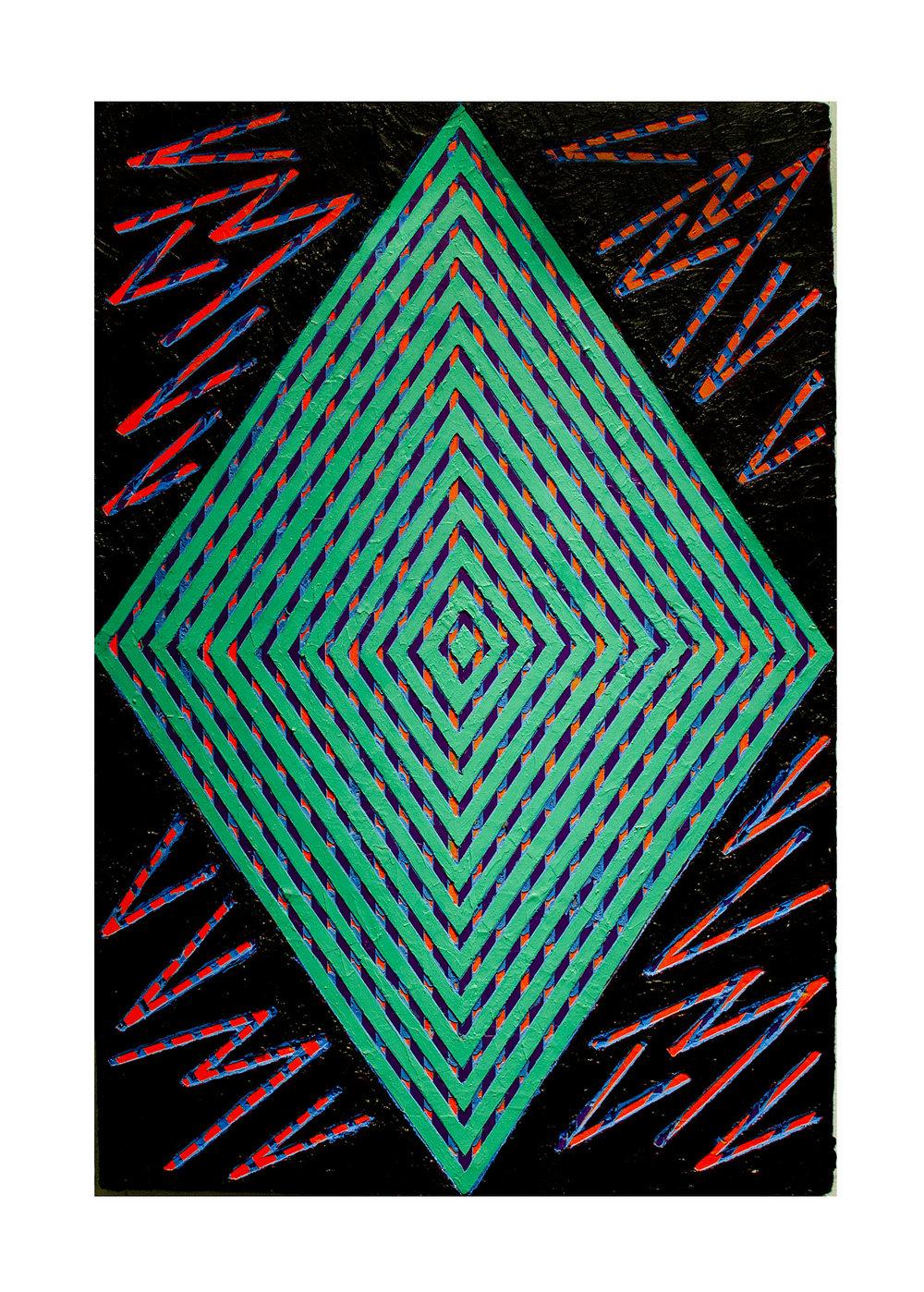 "2014  ""Turquoise Diamond w. Black""  Acrylic on Masonite   36H x 24W"