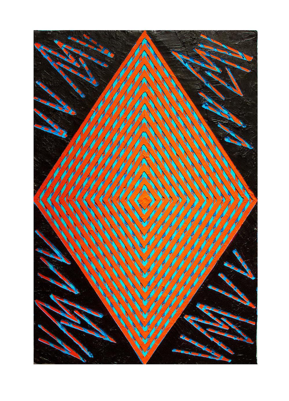 "2014  ""Orange Daimond w. Black""  Acrylic on Masonite  36H x 24W"