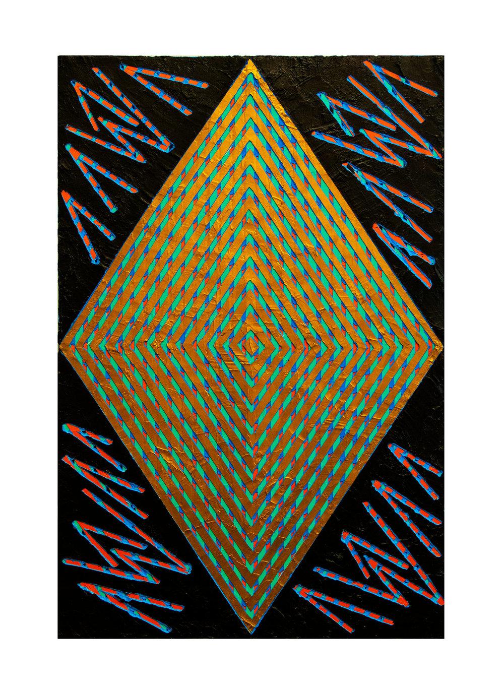 "2014 ""Gold Daimond w. Black""  Acrylic on Masonite 36H x 24W"
