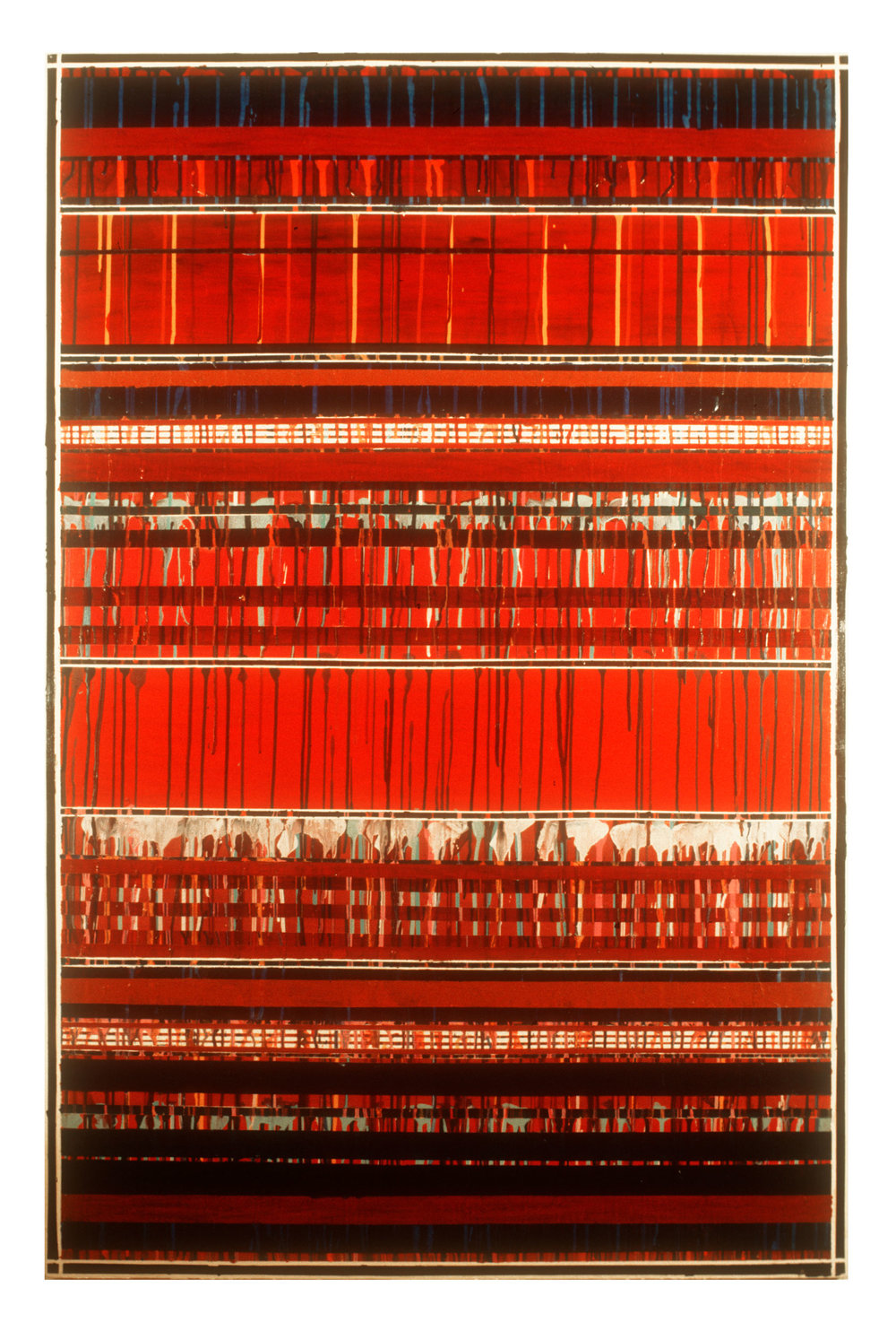 """1976 """"Red Bands w. Drips""""  Acrylic on Canvas   65.5H x 43.5W"""