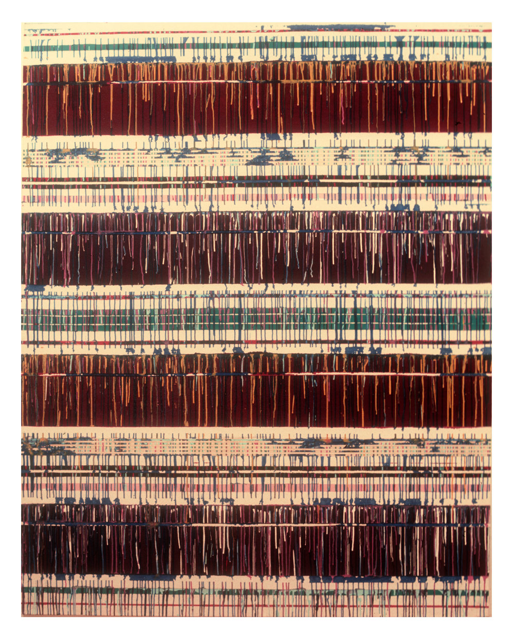 """1975  """"Maroon Bands w. Drips""""  Acrylic on Canvas  84H x 66W"""