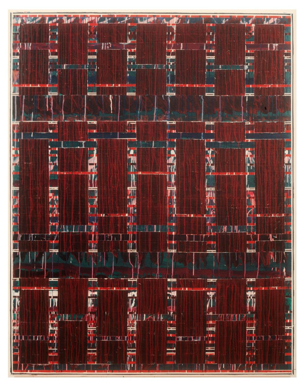 "1976  ""Vertical Bands w. Red & Green""  Acrylic on Canvas  84H x 66W"