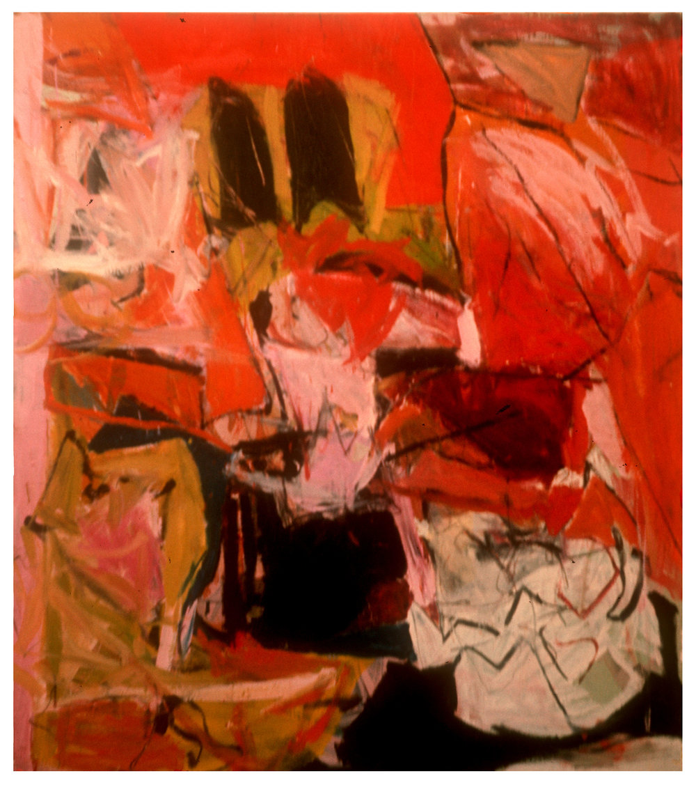 "1966 ""Interior w. Black & Red""  Oil on Canvas     72H x 64W"