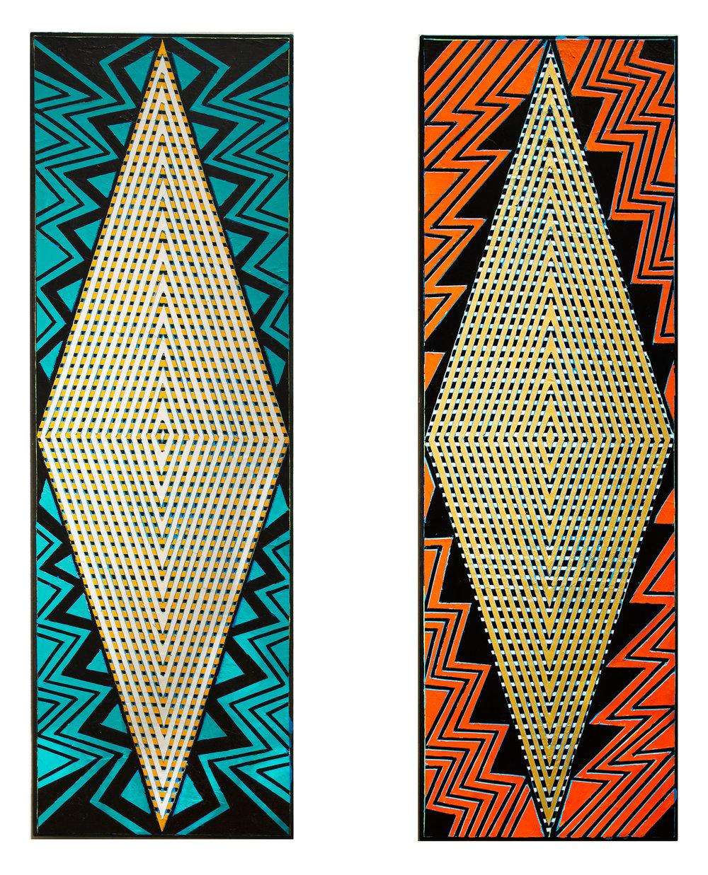 "2016 ""Iman & Bowie""  Acrylic on Canvas Each 60 H x 18W"