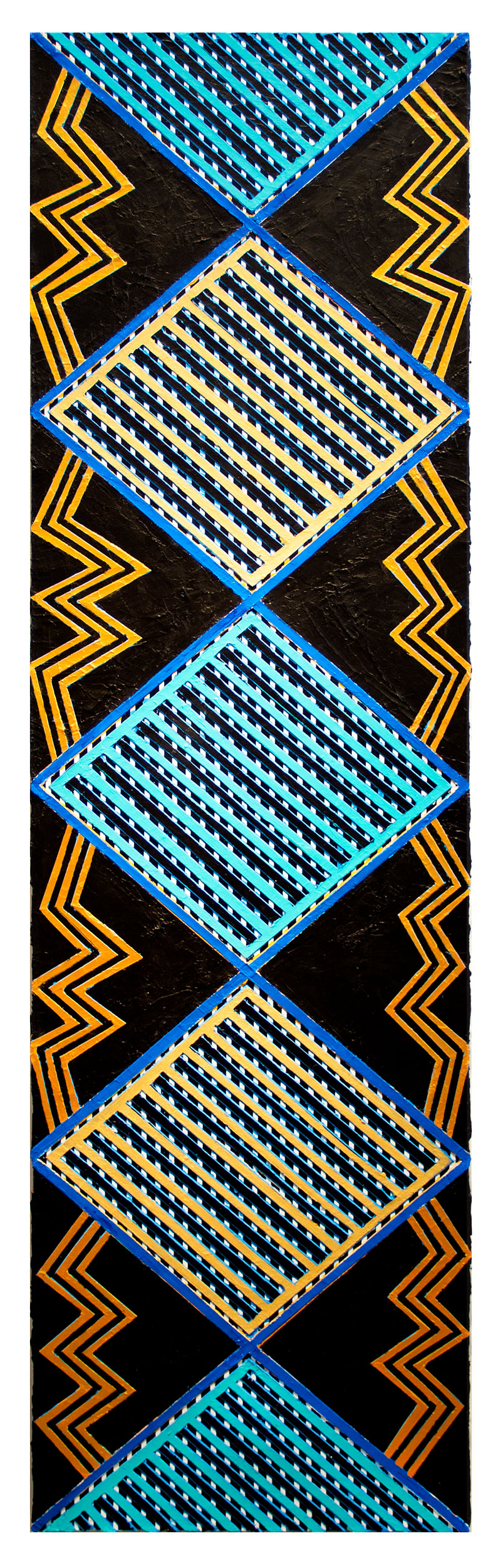 "2017           ""Zig-Zags w. Gold & Turquoise Diamonds""  Acrylic on Canvas 84H x 24W"