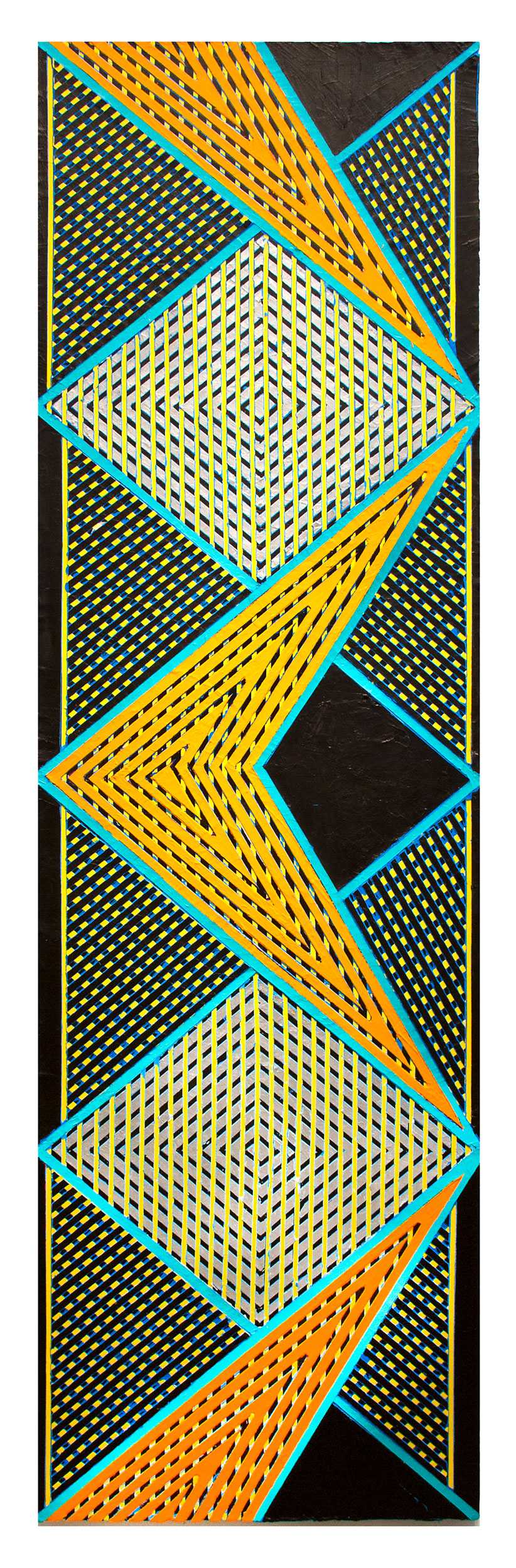 "2017          ""Zig-Zag w. Orange Chevron & Silver Diamonds""  Acrylic on Canvas 84H x 24W"