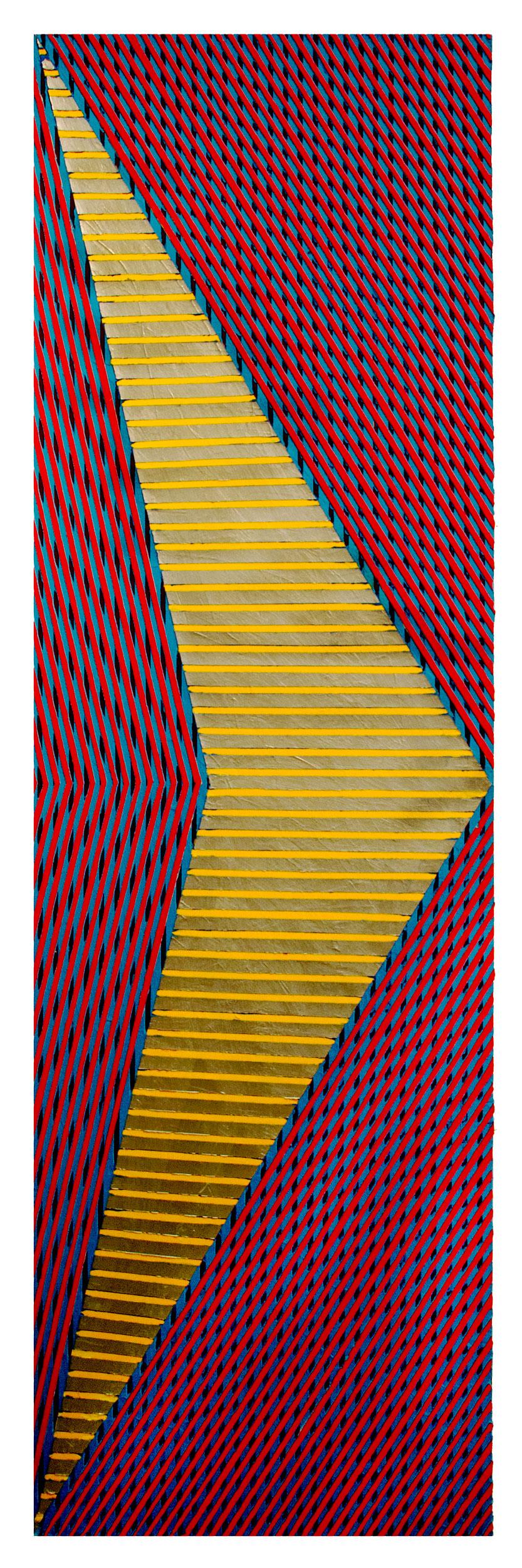 "2018 ""Chevron w. Silver & Yellow""  Acrylic on Canvas 84H x 24W"