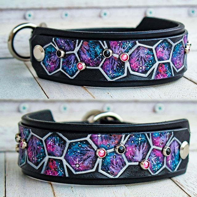 "I've been a bit behind posting new collar photos! 1. I was way too tempted to keep this collar for the small dog that I don't have and;  2. I want to explain the thought process behind this one a little bit.  This collar was made for a Patterdale named Buckminsterfullerene. The molecular structure consists of 12 pentagons and 20 hexagons. We flattened the bucky ball and kept the scale consistent, showing 6 pentagons and 10 hexagons. Chemically known as C60, Buckminsterfullerene is made up of 60 carbon atoms, and this panel is 7.5"" long. So, we included 8 crystals in the design. Lastly, this molecule has been found in deep space, lending itself to the miniature galaxies found within each polygon.  #bullyflop #bullyflopcollars #buckminsterfullerene #sciencebitches"
