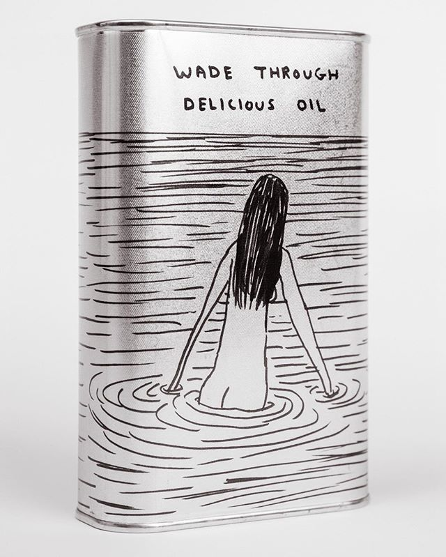@davidshrigley for @agricoladueleoni | 500 ml,  Carboncella Antica organic extra virgin olive oil. Cold-pressed, same-day milled. Shop online, link in bio! Shipping: January 2019. #DavidShrigley #AgricolaDueLeoni #OliveOil