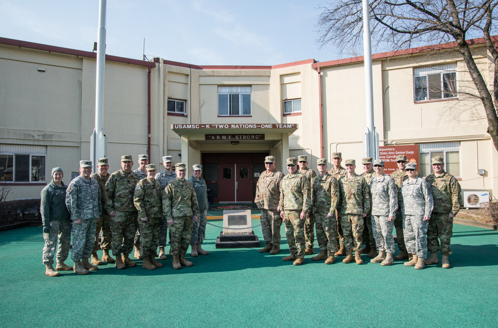 Soldiers of 64 TC (Troop Command) in front of the MSC-K Headquarters Building. 3/10/17