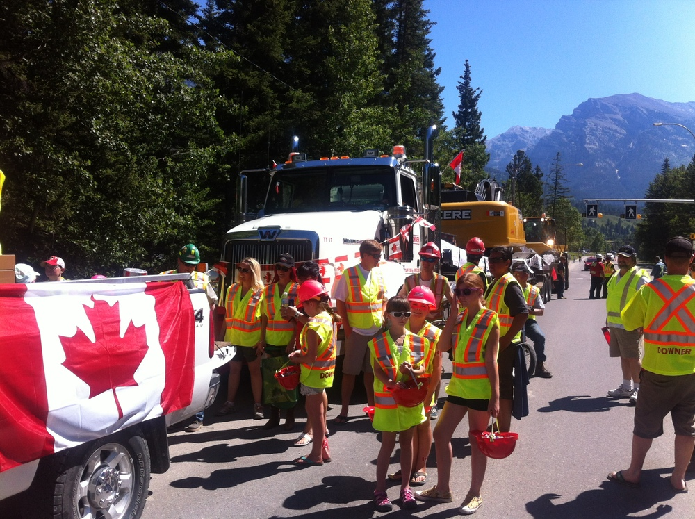 Getting ready for the Canada Day Parade in Canmore.