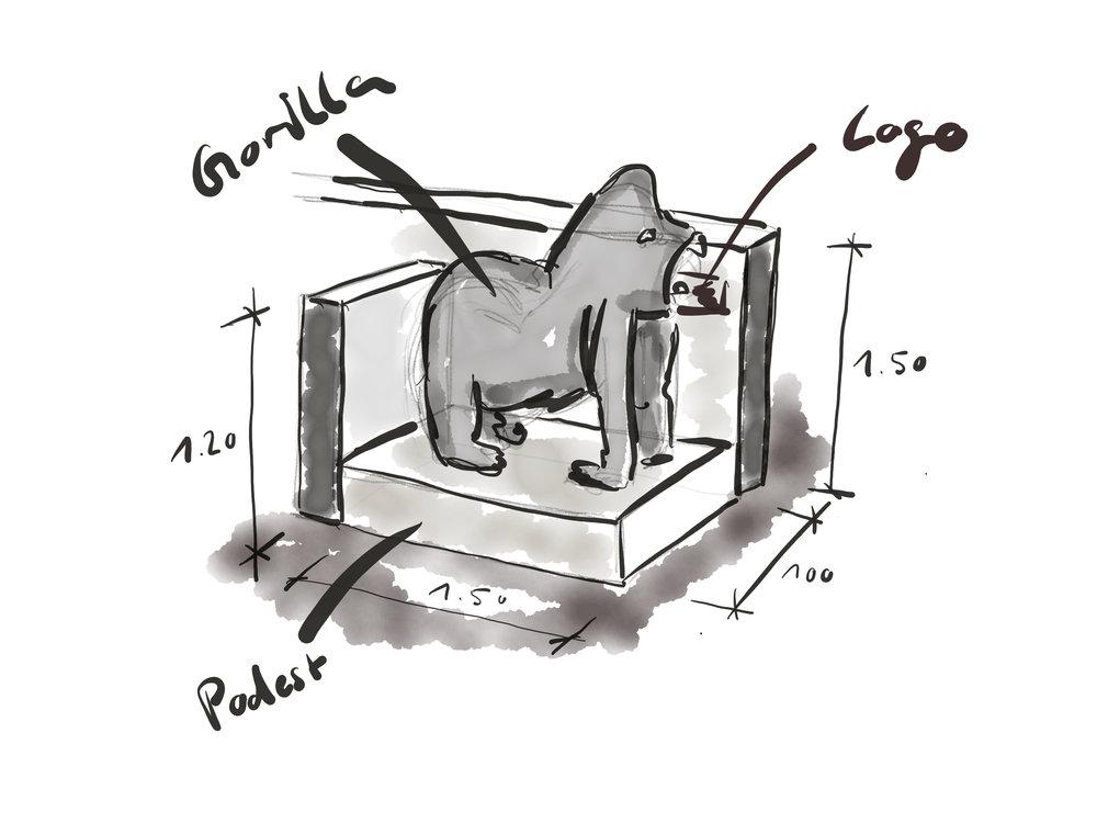 Erste Skizzen des Akustik Gorillas