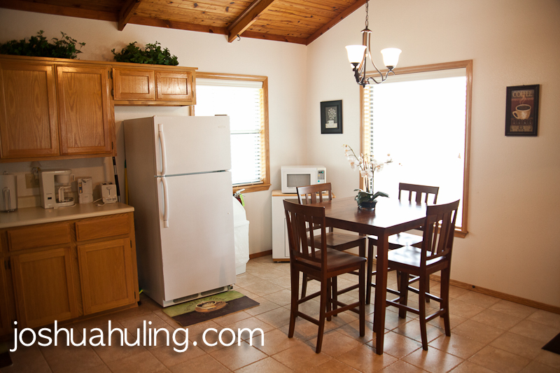 Cottages feature a full kitchen complete with refrigerator, stove, and cookware.