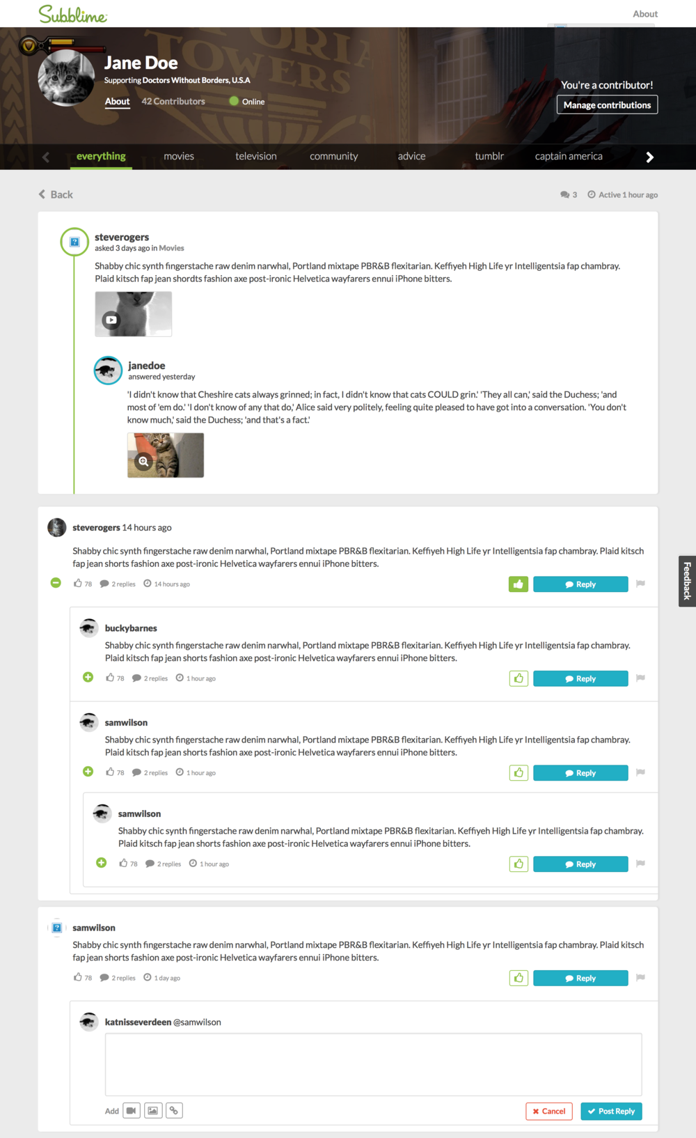 Front-end prototype of conversation page with topic threads.