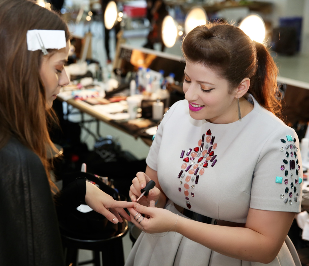 Manicurist Miss Pop backstage at Rodarte's Spring 2016 show