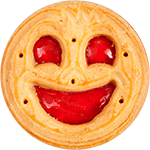 Pure joy, smile, fun, design joy, jammy dodger, face