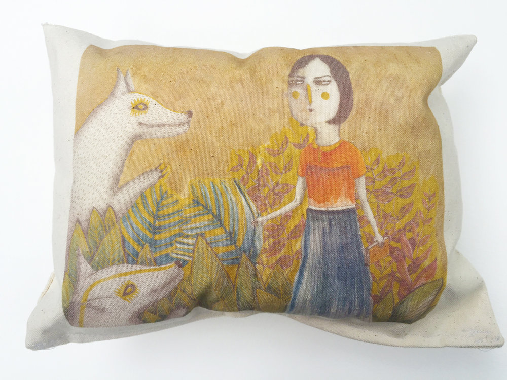 Lady with Wolves Cushion.jpg