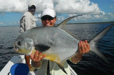 Fly fishing in Belize for permit.